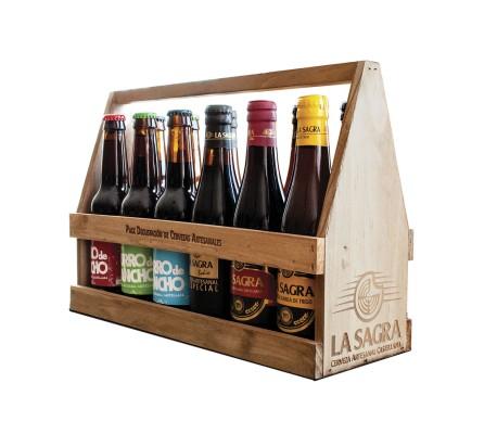 Sagra Cesta De Madera. Degustación Cervezas Sagra (12 Uds)